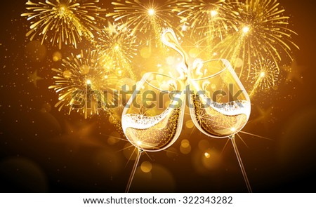 New Year fireworks and champagne glasses. Vector - stock vector