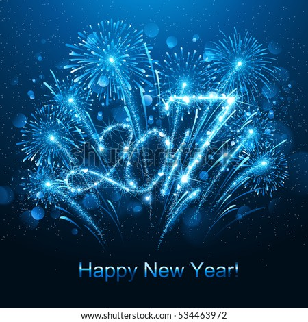 New Year fireworks and confetti 2017. Vector illustration