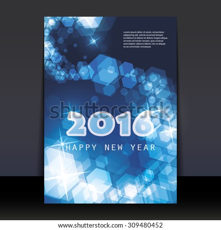 New Year Flyer, Card or Cover Design Template - 2016 - stock vector