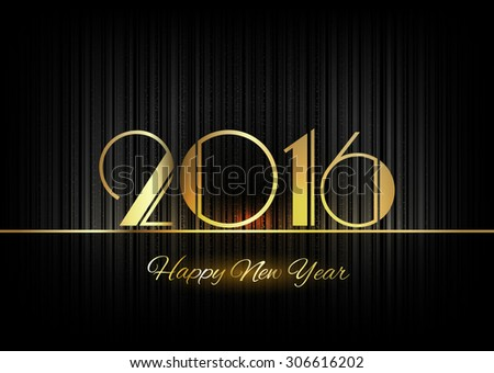 New Year 2016. Gold numbers on the black background. Luxury design elements. - stock vector