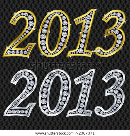 New year 2013 golden and silver with diamonds, vector illustration - stock vector