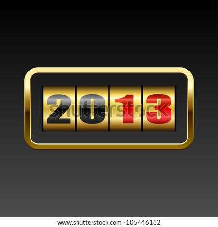 New 2013 year golden figures card. - stock vector