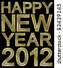 New year 2012 golden with diamonds, vector illustration - stock photo