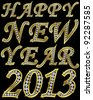 New year 2013 golden with diamonds, vector illustration - stock vector