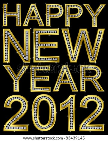New year 2012 golden with diamonds, vector illustration - stock vector