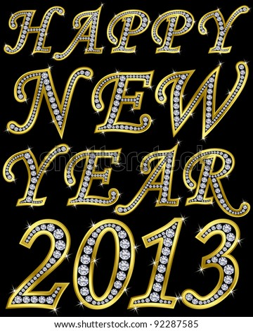 New year 2013 golden with diamonds, vector illustration