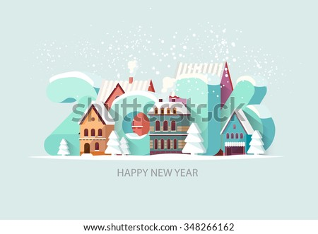 New year 2016. Greeting card. - stock vector