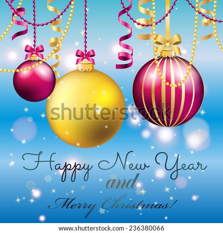 New Year greeting card. Christmas Ball with bow and ribbon. Xmas Decorations. Sparkles and bokeh. Shiny and glowing