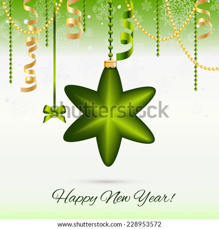 New Year greeting card. Christmas Star Ball with bow and ribbon. Xmas Decorations. Sparkles and bokeh. Shiny and glowing. Holiday Design. Vector. - stock vector