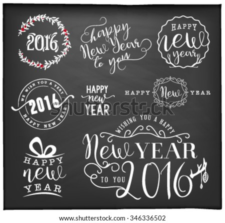 New Year Greeting Card Design Elements, Badges and Labels in Vintage Style on Chalkboard - stock vector