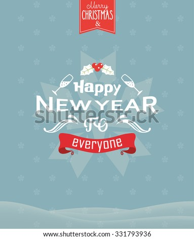 New year greeting  card design. Vector - stock vector