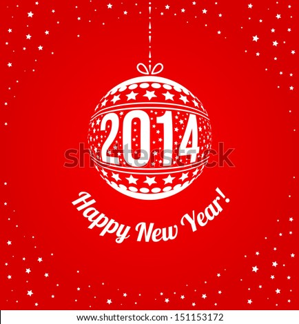 New Year 2014 Greeting Card in minimalistic style. - stock vector