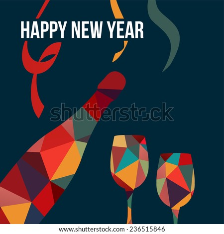 New year greeting card, invitation, with polygon bottle of wine and glasses, vector illustration background - stock vector