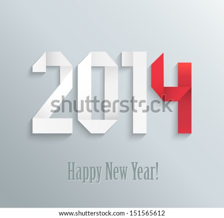 New 2014 year greeting card made in origami style, vector illustration - stock vector