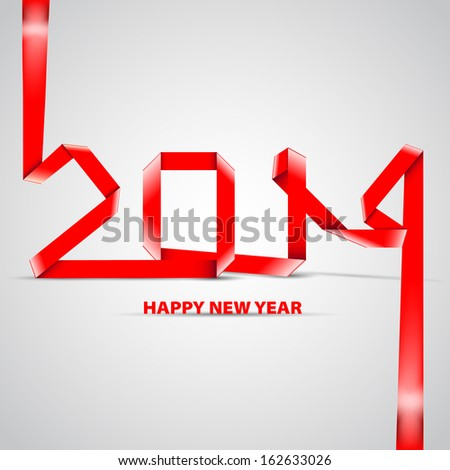 New 2014 year greeting card made in origami style - vector illustration - stock vector