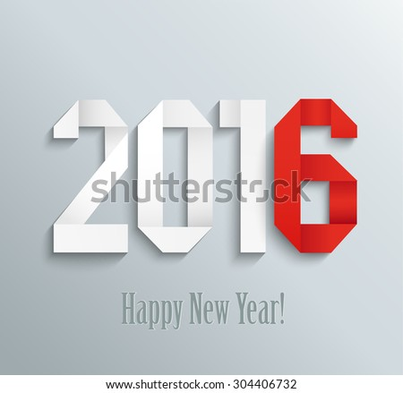 New 2016 year greeting card made in origami style, vector illustration - stock vector