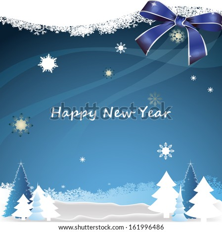 New year greeting card on the background of the winter forest