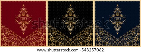 New Year 2017 greeting card set. Holiday set of red, black and blue background ornament. Snowflakes envelope. Vector illustration.