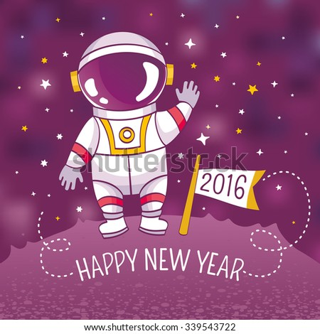 New Year greeting card with astronaut, vector illustration, contains gradient mesh - stock vector