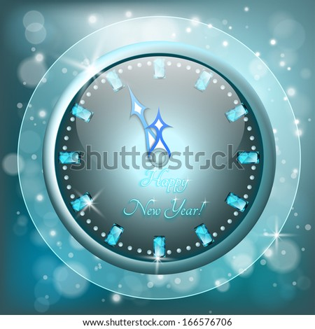 New Year greeting card with clock, eps 10 - stock vector
