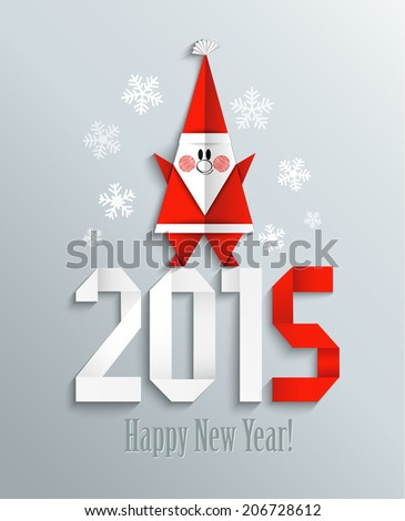 New 2015 year greeting card with Santa made in origami style, vector illustration - stock vector