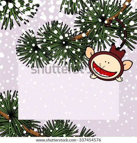 New Year 2016 greeting card with the Monkey hanging on a branch of a fir tree with it's tail - stock vector