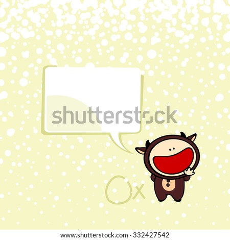 New year greeting card with the Ox and speech bubble window for your text - stock vector