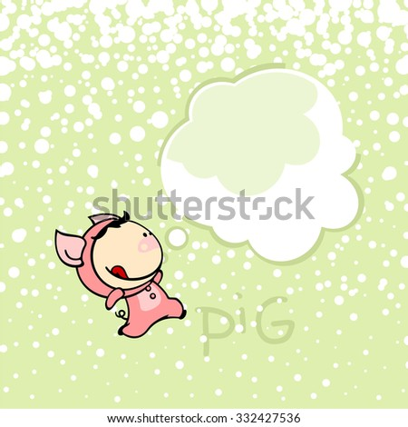 New year greeting card with the Pig and thought bubble window for your text - stock vector