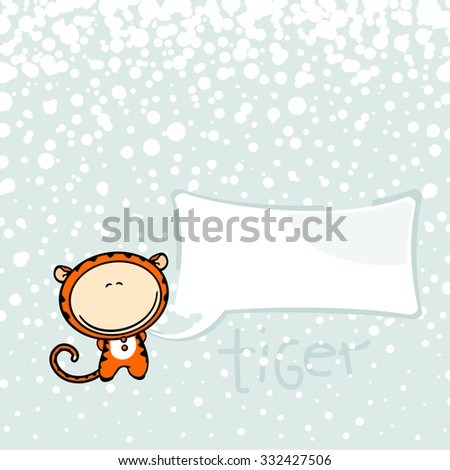 New year greeting card with the Tiger and speech bubble window for your text - stock vector