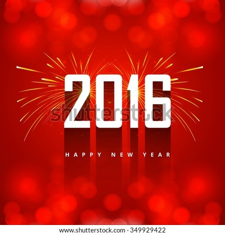 New year 2016 greeting with firework - stock vector