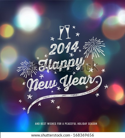 New Year, Handwritten Typography over blurred background - stock vector