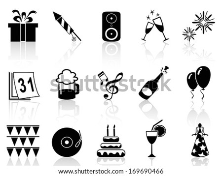 new year holiday icons set - stock vector