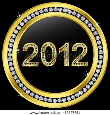 New year 2012 icon with diamonds, vector - stock vector