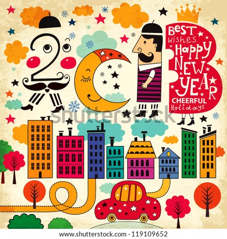 New Year illustration (2013) - stock vector