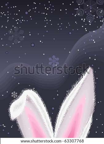 New year illustration with rabbit ears, and snowflakes.Vector. - stock vector