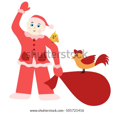 New Year illustration with Young Father Christmas and a symbol of the year - cockerel.
