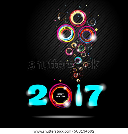 New year 2017 in black background Abstract card