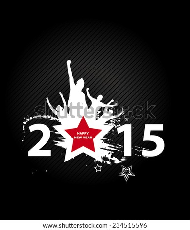 New year 2015 in black background. Abstract poster  - stock vector
