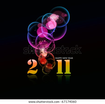 new year 2011 in colorful background design. Vector illustration - stock vector