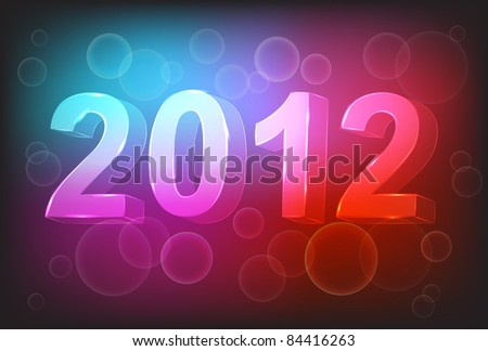 new year 2012 in colorful background design. Vector illustration