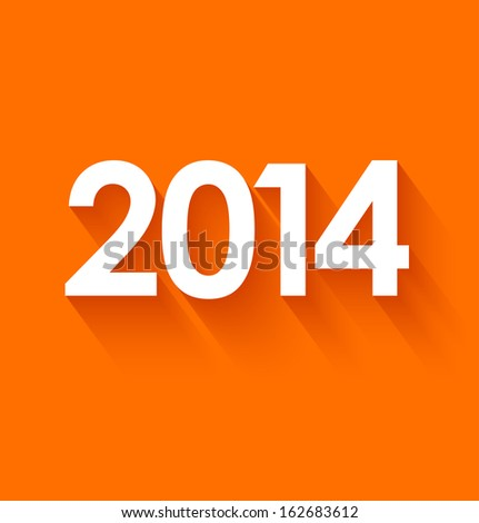 New year 2014 in flat style on orange background. Vector illustration - stock vector