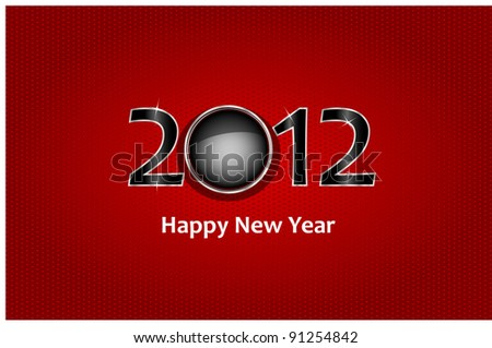 new year 2012 in red background. Vector illustration - stock vector