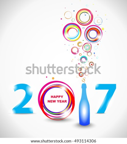 New year 2017 in white background. Abstract poster