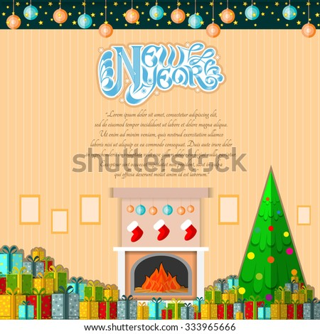 new year lettering on cartoon room background with present boxes and christmas tree - stock vector