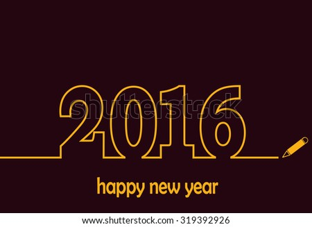 New Year 2016 line design vector.