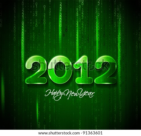 new year 2012, matrix style, vector - stock vector