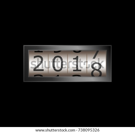 New year mechanical counter showing 2017 switching to 2018