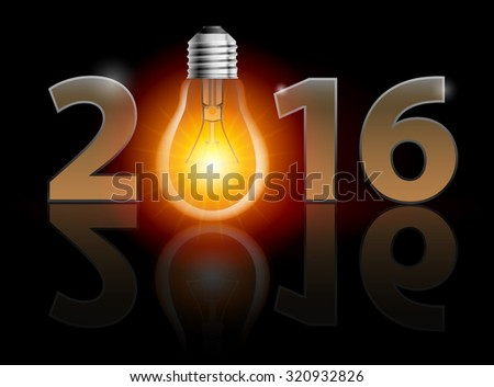 New Year 2016: metal numerals with bulb instead of zero having weak reflection - stock vector
