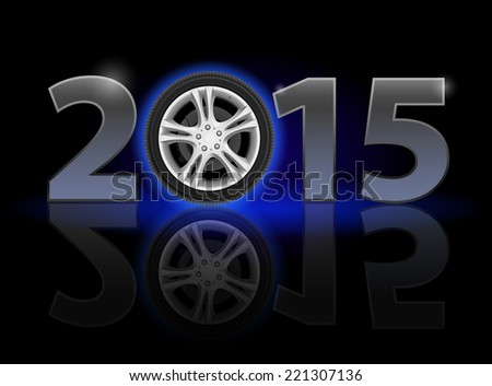 New Year 2015: metal numerals with car wheel instead of zero having weak reflection. Illustration on black background - stock vector