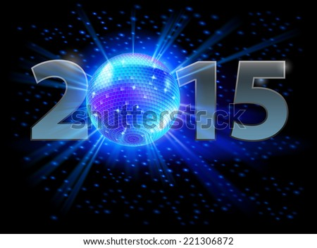 New Year 2015: metal numerals with disco ball instead of zero. Illustration on black background. - stock vector